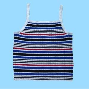 H&M Striped Multicolor Crop Tank Top